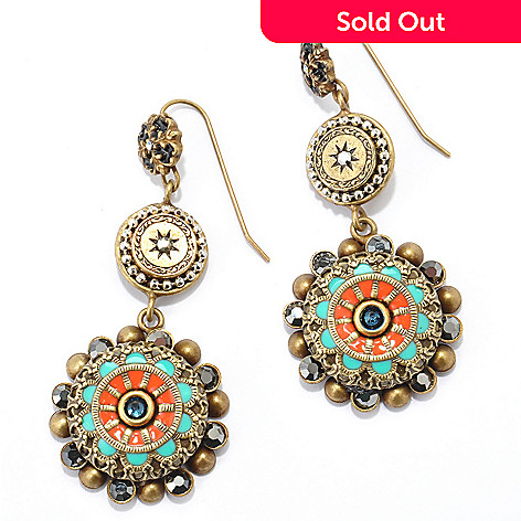 117-623 - Sweet Romance™ Gold-tone ''Old Southwest'' Crystal & Enamel Earrings