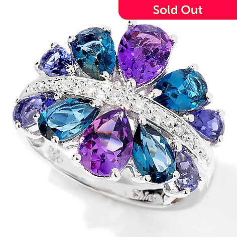 117-643 - NYC II™ 3.32ctw Pear Cut Multi Gemstone & Diamond Accent Ring