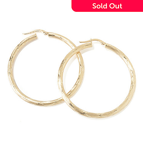 117-650 - SempreGold™ 14K Satin Diamond Pattern Hoop Earrings
