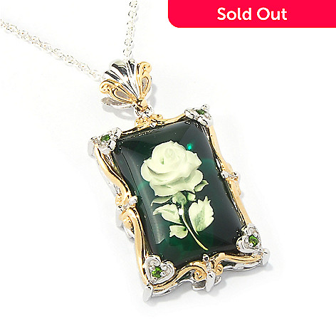 117-668 - Gems en Vogue II Carved Amber & Chrome Diopside Flower Pendant w/ 18'' Chain
