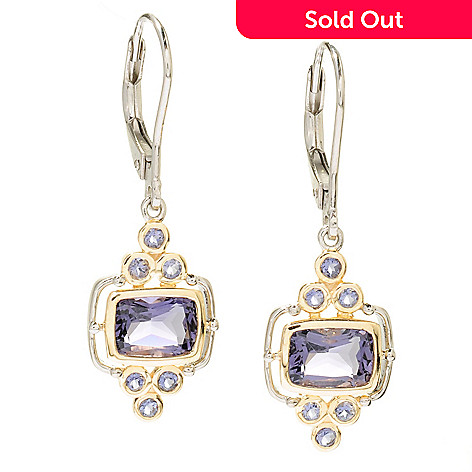 117-687 - NYC II™ 2.46ctw Blue Amethyst & Iolite Drop Earrings