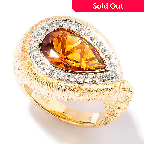 117-692 - Michelle Albala Pear-Shaped Madeira Citrine & White Sapphire Ring