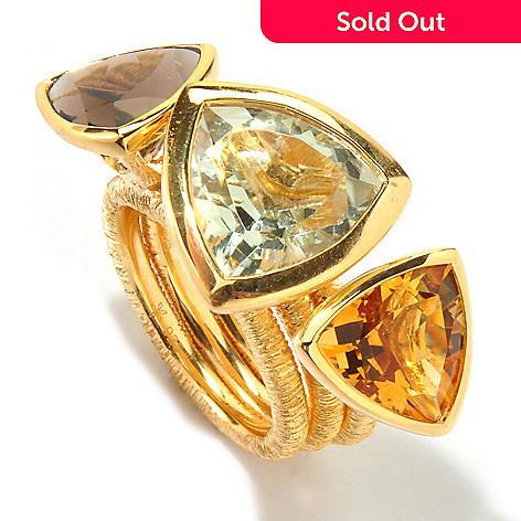 117-698 - Michelle Albala Set of Three Multi Gemstone Trillion Stack Rings