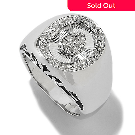 117-755 - Diamond Treasures® Men's Sterling Silver 0.18ctw Diamond Etched Center Ring
