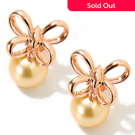 117-844 - 14K Rose Gold 8-9mm Golden South Sea Cultered Pearl Bow Earrings