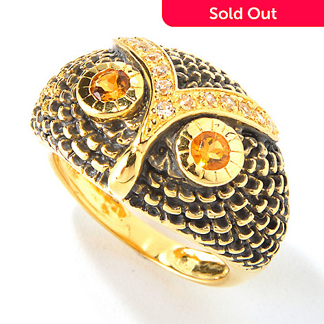 117-859 - NYC II™ Madeira Citrine w/ White Zircon Owl Ring