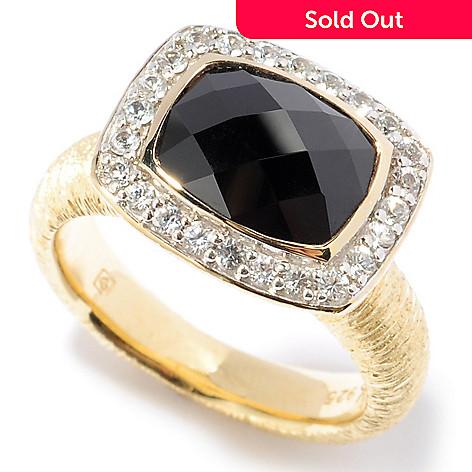 117-917 - Michelle Albala Checkerboard-Cut Black Spinel & White Sapphire Ring
