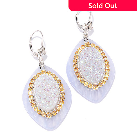 117-946 - Gem Insider® Sterling Silver 33 x 23mm Lace Agate & Multi Gem Drop Earrings