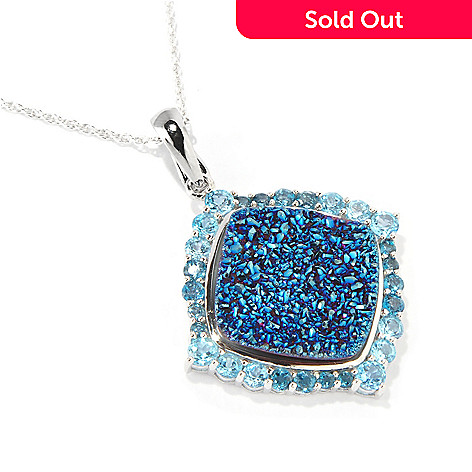 117-948 - Gem Insider® Sterling Silver 19mm Blue Drusy & Shades of Topaz Pendant w/Chain