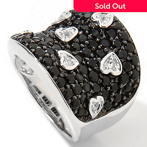 117-958 - Gem Treasures Sterling Silver 4.00ctw Black Spinel & Sapphire Ring