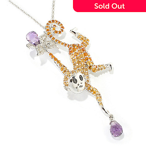 117-977 - NYC II 5.19ctw Amethyst, Citrine & Diamond Monkey Pendant w/ Chain