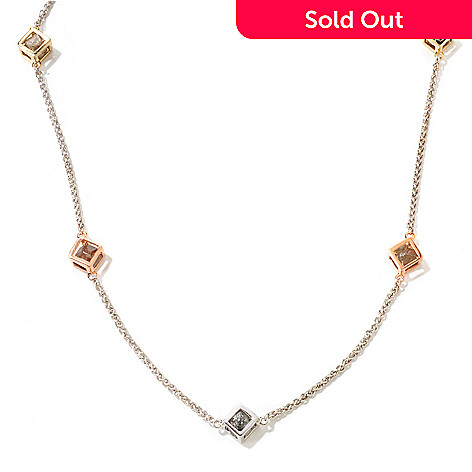 118-006 - Diamond Treasures® 37'' Rough Diamond Station Necklace