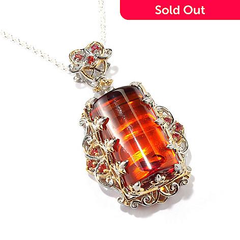 118-023 - Gems en Vogue 20 x 12mm Baltic Amber & Orange Sapphire Pendant w/ Chain