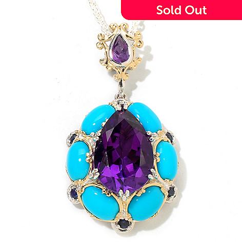118-024 - Gems en Vogue Pear Shaped Amethyst, Sapphire & Turquoise Pendant w/Chain
