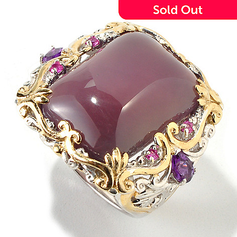 118-045 - Gems en Vogue II 20 x 15mm Purple Chalcedony, Amethyst & Pink Sapphire Ring