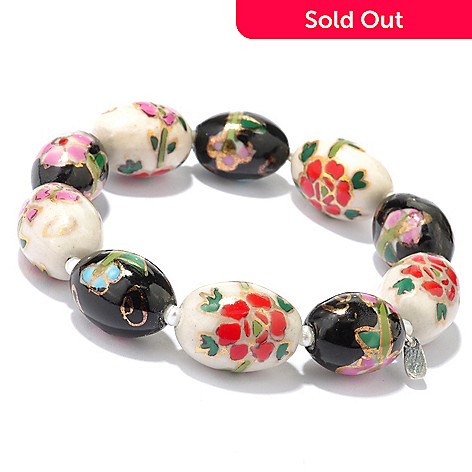 118-073 - 8'' 3-3.5mm Freshwater Cultured Pearl & Cloisonné Bead Stretch Bracelet