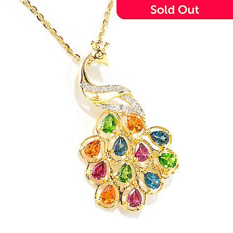118-109 - NYC II™ Exotic Multi-Gemstone & Diamond Peacock Pin/Pendant w/ Chain