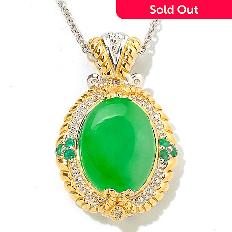 118-163 - Gems en Vogue 16x12mm Dyed Jade w/Zambian Emerald & White Sapphire Pendant w/ Chain