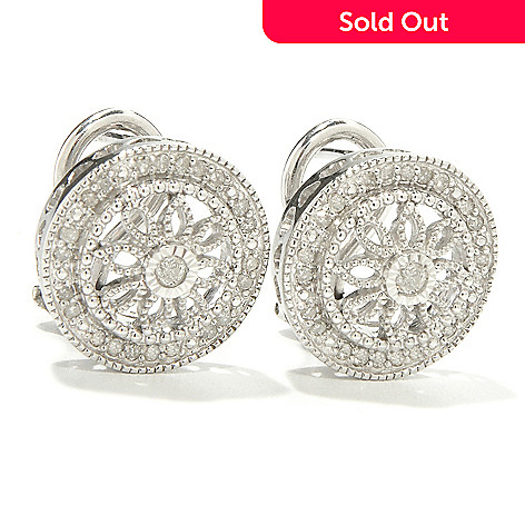 118-185 - Sterling Silver Diamond Floral Detail ''Vintage Lace'' Round Earrings