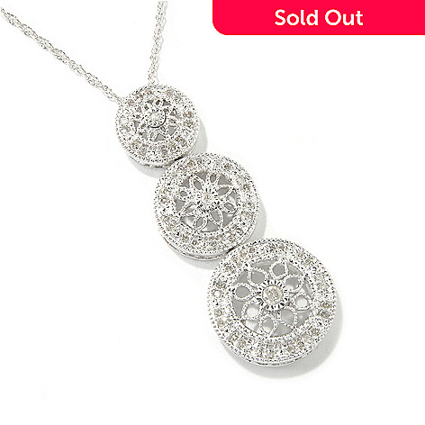 118-187 - Sterling Silver .30ctw 18'' Vintage Lace Three-Circle Diamond Pendant