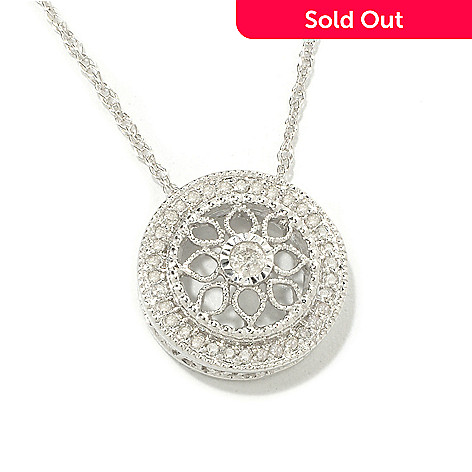 118-188 - Diamond Treasures Sterling Silver 0.19ctw Diamond Vintage Lace Pendant w/ Chain