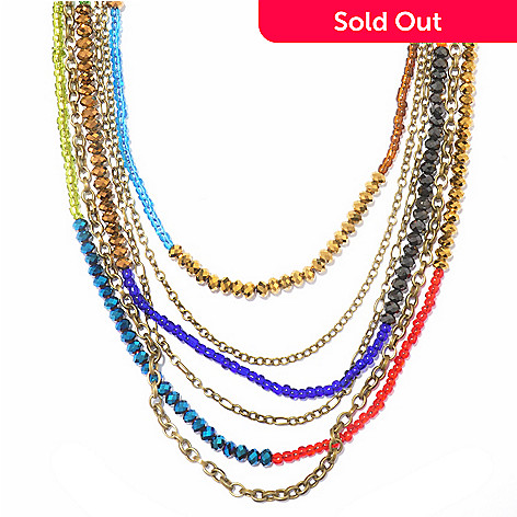 118-235 - Sweet Romance™ 30'' Multi Strand Crystal Bead Rainbow Necklace