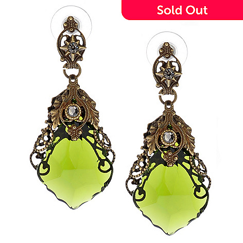 118-236 - Sweet Romance 1930s Inspired Filigreed Glass Prism Drop Earrings