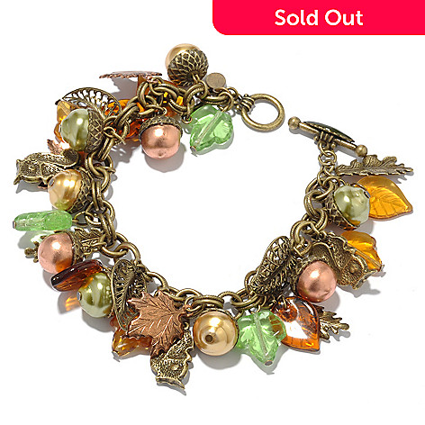 118-241 - Sweet Romance™ 8'' Leaf & Acorn ''Squirrel's Harvest'' Charm Bracelet
