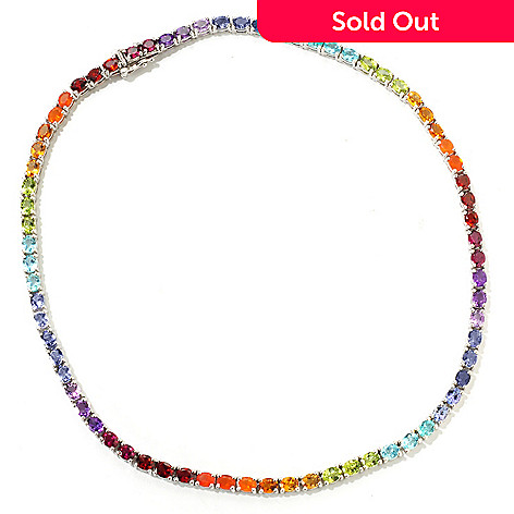 118-248 - NYC II® 22.00ctw Exotic Rainbow Multi Gemstone Tennis Necklace