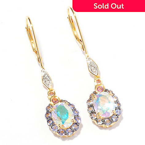 118-251 - Sterling Silver / 18K Vermeil Mystic, Sunset or Opal Topaz and Gemstone Choice Drop Earrings