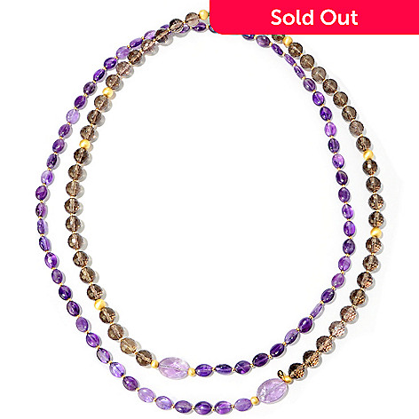 118-271 - Provisor + Wisch 53.5'' Amethyst or Prehnite & Smoky Quartz Necklace
