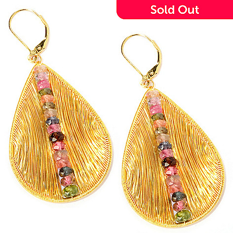 118-290 - Multi-Colored Tourmaline Teardrop ''Biscayne'' Earrings