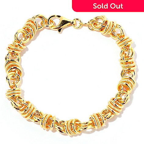 118-299 - Portofino Gold Embraced™ 8'' Textured Status Link Chain Bracelet