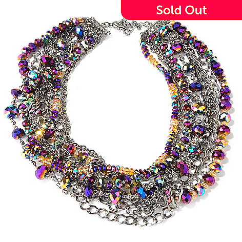 118-322 - The Find Jewelry By Annie G. Crystal Bedazzle Multi-Strand Crystal & Chain Necklace w/ Extender