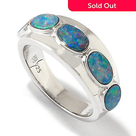 118-333 - Gem Insider Sterling Silver Opal Doublet Band Ring