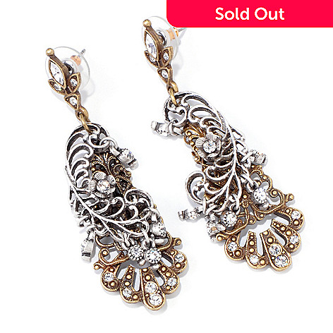 118-352 - Sweet Romance™ Two-tone Filigreed ''Sunken Treasure'' Drop Earrings
