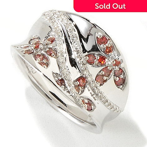 118-432 - Diamond Treasures® Sterling Silver Pink & White Diamond Flower Concave Ring