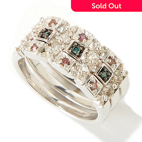 118-440 - Diamond Treasures Sterling Silver Pink & Blue Diamond Three-Ring Set