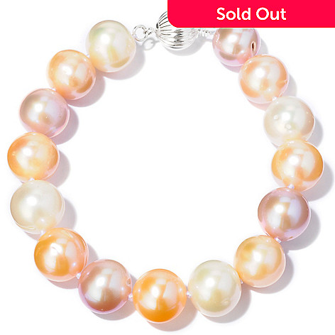 118-469 - Sterling Silver 8'' 12-14mm Natural Color Cultured Freshwater Pearl Bracelet