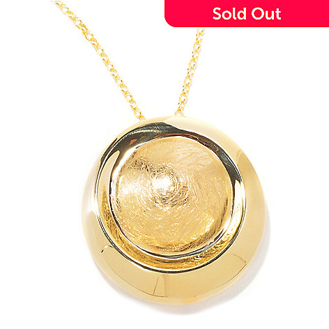 118-485 - Portofino Gold Embraced[ Textured Medallion w/ 20'' Chain