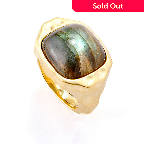 118-638 - Toscana Italiana Gold Embraced™ 14mm Labradorite Martellato Ring