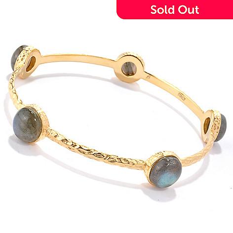 118-640 - Toscana Italiana 18K Gold Embraced™ 8'' Labradorite Station Slip-On Bangle Bracelet