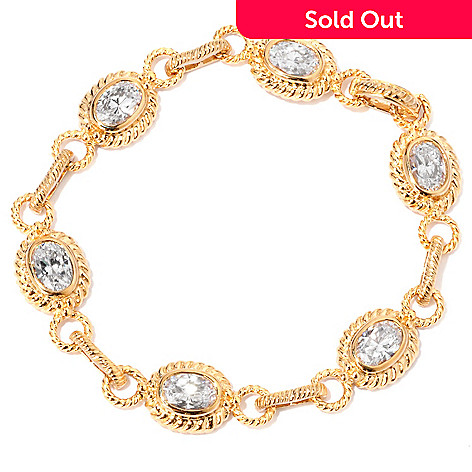 118-641 - DESORO™ Gold Embraced™ Bezel Set Simulated Diamond Rope Link Bracelet