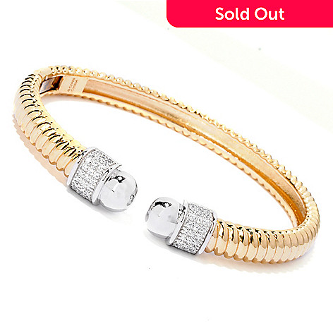 118-645 - DESORO™ Gold Embraced™ Textured Cable Simulated Diamond Cuff Bracelet