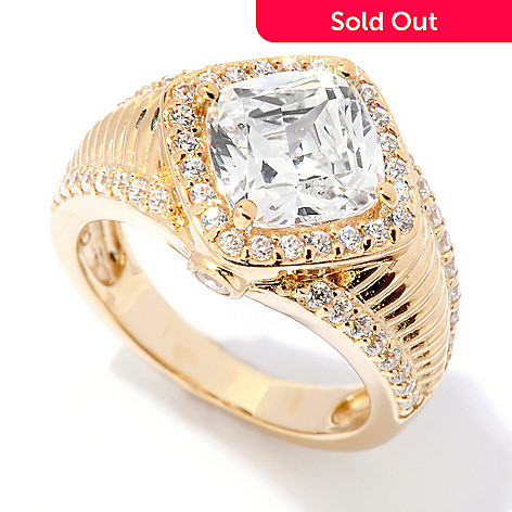 118-647 - DESORO™ Gold Embraced™ 3.12 DEW Cushion Cut Simulated Diamond Halo Ring
