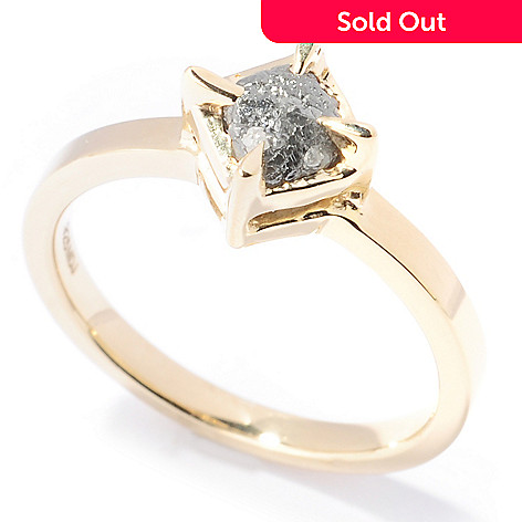 118-649 - Diamond Treasures Plated Sterling Silver 1.29ctw Rough Diamond Solitaire Ring