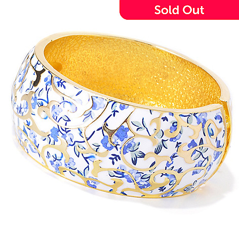 118-666 - Hand Painted Champleve Hinged Bangle