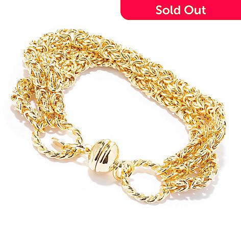 118-691 - Portofino Gold Embraced[ 7.75'' Three-Row Byzantine Bracelet w/ Magnetic Clasp