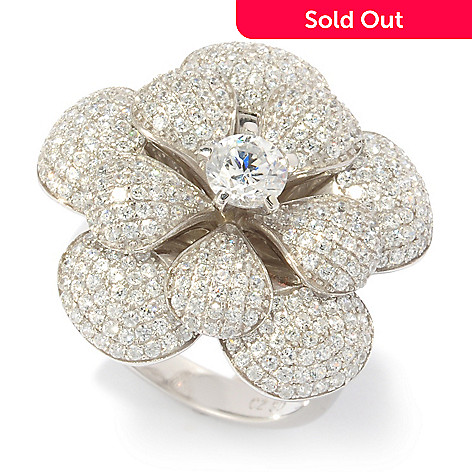 118-700 - BELITA™ Platinum Embraced™ Brilliante® 2.62 DEW Pave Flower Ring