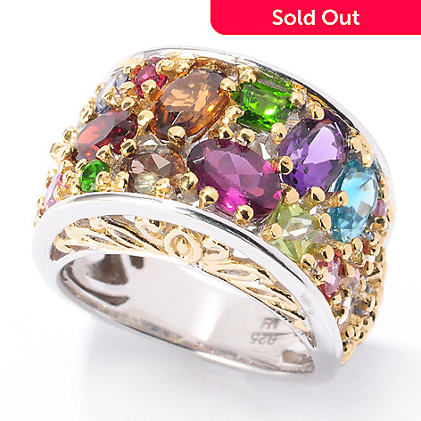 118-716 - Gems en Vogue 6.24ctw Exotic Multi Gemstone ''Jardin de Bijoux'' Ring